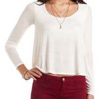 Long Sleeve  Swing Top by Charlotte Russe - Ivory