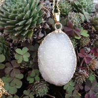 White Agate Druzy Gold Pendant Necklace
