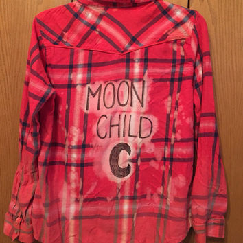 Moon Child bleached out ombré grunge flannel size large/xl