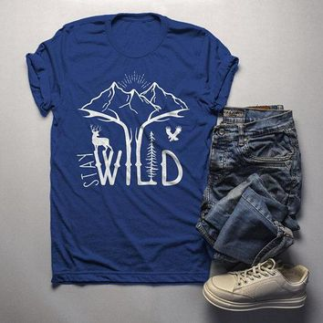 350f8197d99f Men's Hipster Stay Wild Shirt Mountains T-Shirt Explore Antlers. Men's  Hipster Stay Wild Shirt Mountains T-Shirt Explore Antlers Graphic Tee  Camping Vintage ...