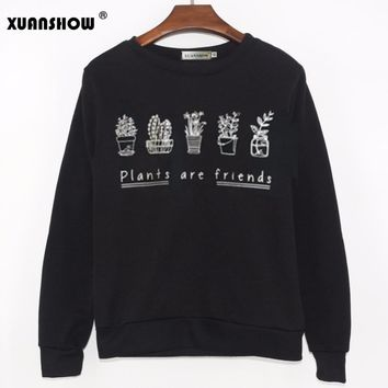 2018 PLANTS ARE FRIENDS Womens Sweatshirt Cute Kale Flowers Vegan Floral Cactus Ladies Fashion Long Sleeve Fleece Hoodies Tops
