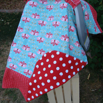 Baby Car Seat Canopy Girls Red Teal Car Seat Cover - READY TO SHIP