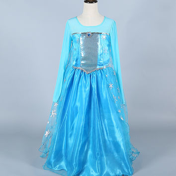 Frozen Elsa Girl Princess Dress Cosplay Costume - 3T+ US Sizes