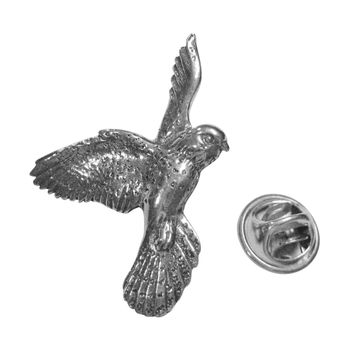 Silver Toned Flying Kestrel Bird Lapel Pin