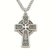 "Sterling Silver 3/4"" Engraved Trinity Celtic Cross Necklace on 18"" Chain"