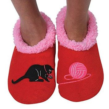 Snoozies Womens Classic Splitz Applique Non Skid Slipper Socks  Cat and Yarn XLarge