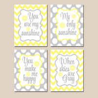 You Are My SUNSHINE Wall Art, CANVAS or Prints, Yellow Gray Chevron Polka Dots, Baby Girl NURSERY Decor, Nursery Rhyme Song Quote Set of 4