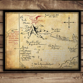 Christmas SALE 10% discount ON -  The Hobbit,Thorin's Map, Map of Erebor, Thrór's Map, fan art, Lord of The Rings map