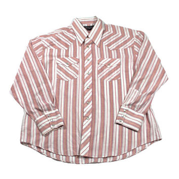 Vintage 90s Striped Western Pearl Snap Button Up Shirt Mens Size XL