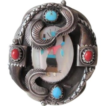 Navajo Native American Cuff Bracelet Vintage 1940s Kakiki Turquoise Coral Bear Claw