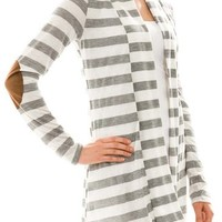 Elbow Patch Striped Cardigan Heather Grey (Large)