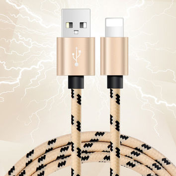 78in Long iPhone 7 7 Plus &iPhone 6s 6Plus se 5s Lightning Fabric Braid Cable USB Charger Sync +Gift Box