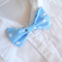 Baby Blue Polka Dot Bow Tie - Bow Tie Brooch - Unisex Bow Tie Pin - Bow Brooch - Wedding Bow Tie Pin - Groom and Best Man's Bow Pin