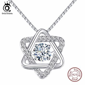 925 Silver Women Star of David Pendant Necklace