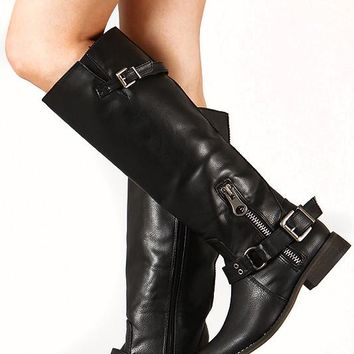 Buckle Riding Knee High Vegan Leather Boot Black
