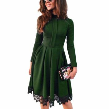 VONE2B5 Promotion Fashion Women Sexy Long Sleeve Slim Maxi Dresses Green Party Dresses Hot