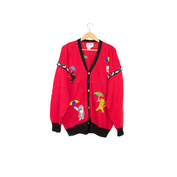 80s raining cats and dogs sweater - vintage 1980s RUE BRITANNIA - cat - dog - animals - graphic knit cardigan