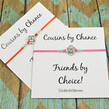 Matching Cousin Bracelets | Celtic Knot Bracelets | Gift for Cousin | Cousins by Chance, Friendship by Choice Card | Cousins Gift