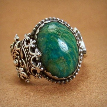 One of a Kind Scottish Thistle Harp Amazonite Ring Size 7.5