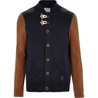 River Island MensNavy contrast sleeve toggle front jacket