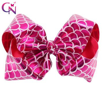 "New Fashion 8"" Mermaid JoJo Bows With Clips For Kids Girl Boutique Printed Metallic Leather Hair Bows Hairgrips Hair Accessories"