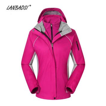 LANBAOSI Outdoor Sports Women's 3 in 1 Hiking Hooded Jackets Fleece Liner Windproof Waterproof Snowboard Skiing Camping Climbing