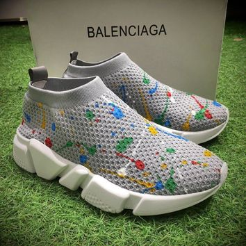 Best Online Sale Fashion Balenciaga Speed stretch-knit Mid Grey White Socks Shoes Sport Shoes