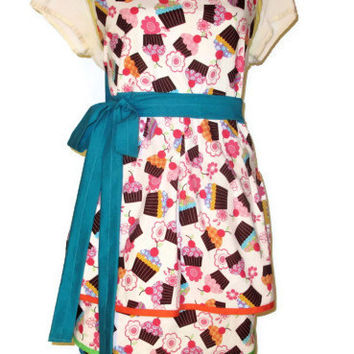 Cupcake Full Apron with Triple Skirt - Adult