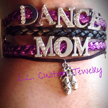 DANCE MOM Rhinetone Suede/Leather Bracelet w/ a Charm - Cheer, Dance, Football, Basketball, Baseball, Sport Mom, etc