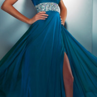 Mac Duggal Prom 2013- Peacock Gown With Embellished Waist And One Shoulder - Unique Vintage - Prom dresses, retro dresses, retro swimsuits.