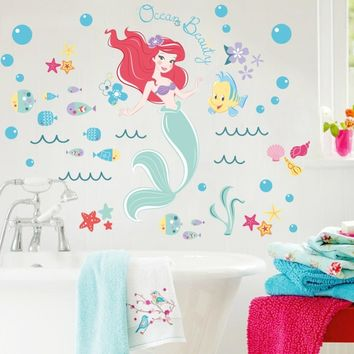 Children Kids Living Room Decoration Mermaid Ocean Beauty Fish Bubbles Art Vinyl Wall Stickers Wall Decal Mural Girls Room Decor