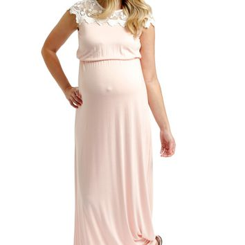 Pink Lace Top Maternity Maxi Dress