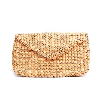 Knitted Bamboo Rattan Straw Sea Grass Clutch Bag Handbag Purse Wallet Natural