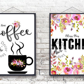 Bless this kitchen | But first coffee | Kitchen decor | Typography | Home decor | Silhouette | Flowers wreath | Calligraphy