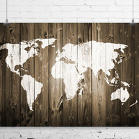 Rustic Painted Barn Wood World Map Art Print Wall Poster