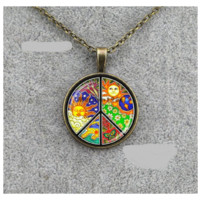 Hippie Peace Sign Solar Totem Pendant Necklace
