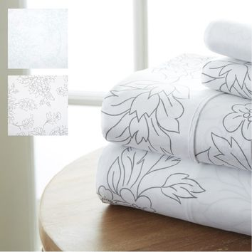 Home Collection Premium Ultra Soft 4 Piece Vine Bed Sheet Set - Hypoallergenic - Beautiful Design - Comfortable - Fade Resistant
