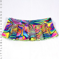 Acid Rainbow Pleated Mini Skirt - One-Size / Rainbow
