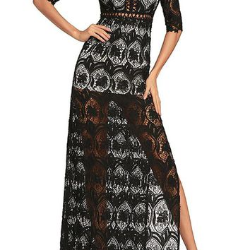 C| Chicloth Hollow Out Crochet V Neck Half Sleeve Thigh Slit Maxi Dress