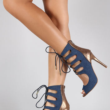 Shoe Republic LA Ankle Cuff Corset Lace Up Stiletto Pump