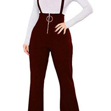 Remelon Womens Sleeveless High Waisted Zipper Front Bell Pants Suspender Jumpsuits Overalls