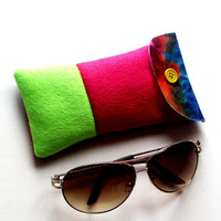 Eye glass case - lime green and fuchsia sunglasses case -  colorful case for eyeglass - bright case for sunglasses - sunglasses pouch
