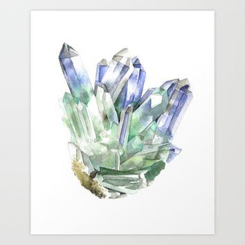 Fuschite with Quartz Cluster Art Print by Andrea Fairservice