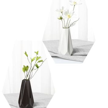 Modern and Contemporary Ceramic White and Black Vases
