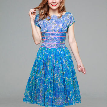 Cornflower Blue dress |  vintage 1950s dress •  floral organza 50s dress