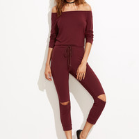 Burgundy Off The Shoulder Knee Ripped Drawstring Jumpsuit