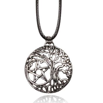 Supernatural Pentacle Pentagram Yggdrasil Tree of Life Necklaces Witch Protection Star Amul pendant with Leather Rope Chain