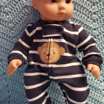 "15 inch Baby doll clothes ""Monkey Stripes"" Will fit Bitty Baby® Sleeper footie pajamas navy striped  F1"