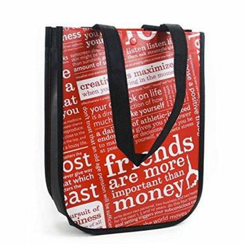 CREYON Lululemon Red with Graphic Print Small Reusable Tote Carryall Gym Bag