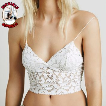New fashion summer lace sexy straps top women White